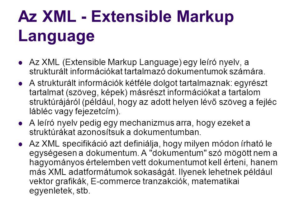 Az XML - Extensible Markup Language  Az XML (Extensible Markup Language) egy leíró nyelv, a strukturált információkat tartalmazó dokumentumok számára