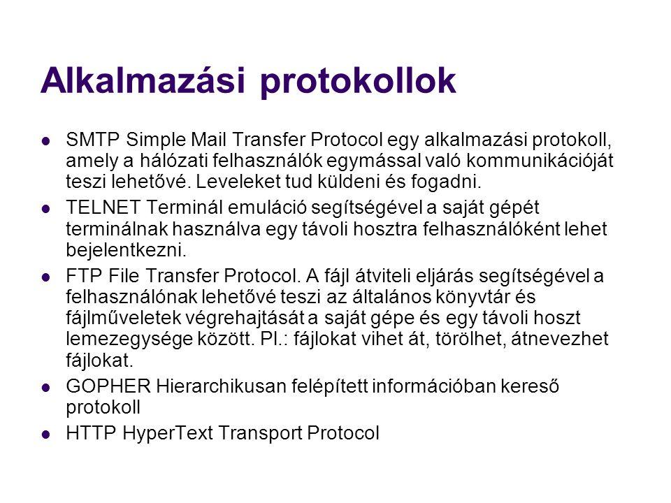 Alkalmazási protokollok  SMTP Simple Mail Transfer Protocol egy alkalmazási protokoll, amely a hálózati felhasználók egymással való kommunikációját t