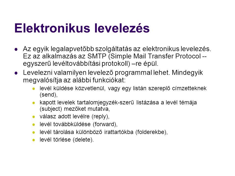 Elektronikus levelezés  Az egyik legalapvetőbb szolgáltatás az elektronikus levelezés. Ez az alkalmazás az SMTP (Simple Mail Transfer Protocol -- egy