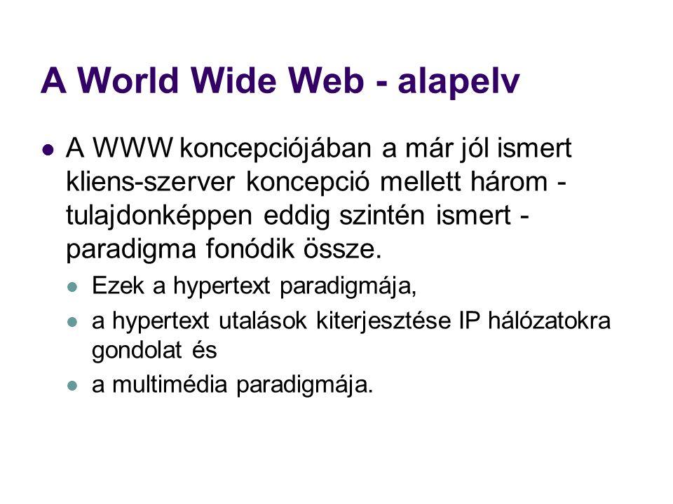 A World Wide Web - alapelv  A WWW koncepciójában a már jól ismert kliens-szerver koncepció mellett három - tulajdonképpen eddig szintén ismert - para