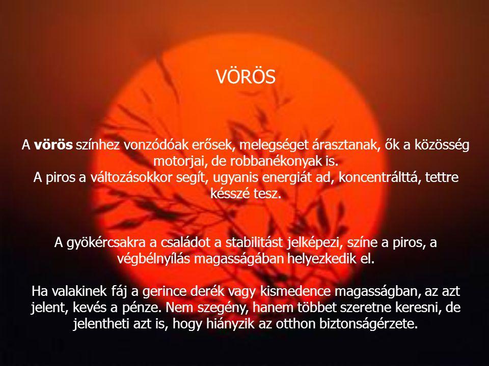 NARANCS A narancshoz a társas együttlétekkel kapcsolatos érzések társulnak. A határtalan öröm, vidámság, a bulik színe, de a hisztériáé és a sokké is.