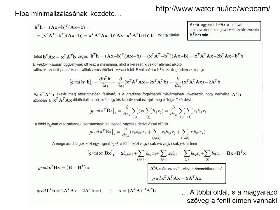 http://www.water.hu/ice/webcam/ Hiba minimalizálásának kezdete… … A többi oldal, s a magyarázó szöveg a fenti címen vannak!