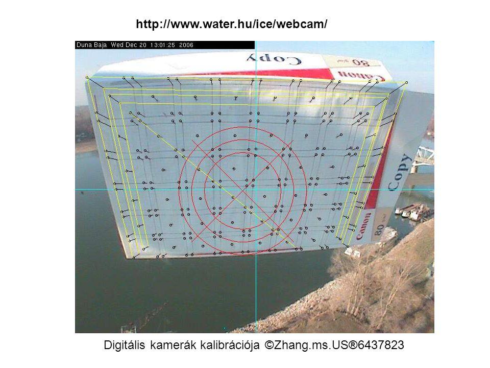 http://www.water.hu/ice/webcam/ Digitális kamerák kalibrációja ©Zhang.ms.US®6437823