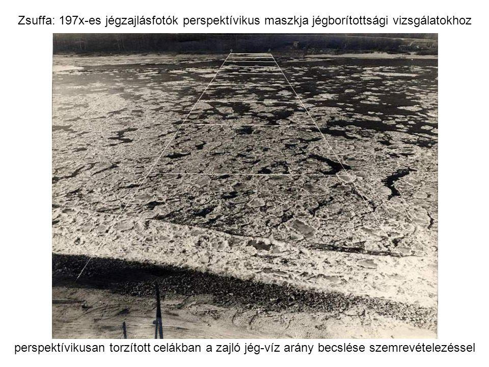 Zsuffa: 197x-es jégzajlásfotók perspektívikus maszkja jégborítottsági vizsgálatokhoz perspektívikusan torzított celákban a zajló jég-víz arány becslése szemrevételezéssel