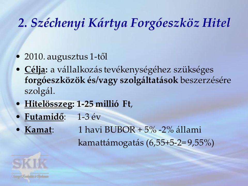 2. Széchenyi Kártya Forgóeszköz Hitel •2010. augusztus 1-től •Célja: a vállalkozás tevékenységéhez szükséges forgóeszközök és/vagy szolgáltatások besz