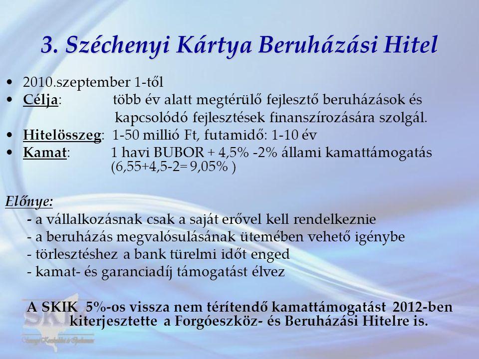 3. Széchenyi Kártya Beruházási Hitel •2010.szeptember 1-től •Célja: több év alatt megtérülő fejlesztő beruházások és kapcsolódó fejlesztések finanszír