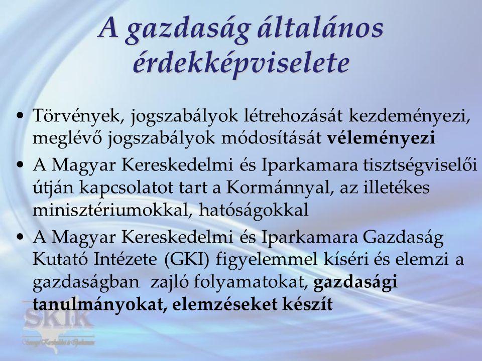 A gazdaság általános érdekképviselete •Törvények, jogszabályok létrehozását kezdeményezi, meglévő jogszabályok módosítását véleményezi •A Magyar Kereskedelmi és Iparkamara tisztségviselői útján kapcsolatot tart a Kormánnyal, az illetékes minisztériumokkal, hatóságokkal •A Magyar Kereskedelmi és Iparkamara Gazdaság Kutató Intézete (GKI) figyelemmel kíséri és elemzi a gazdaságban zajló folyamatokat, gazdasági tanulmányokat, elemzéseket készít