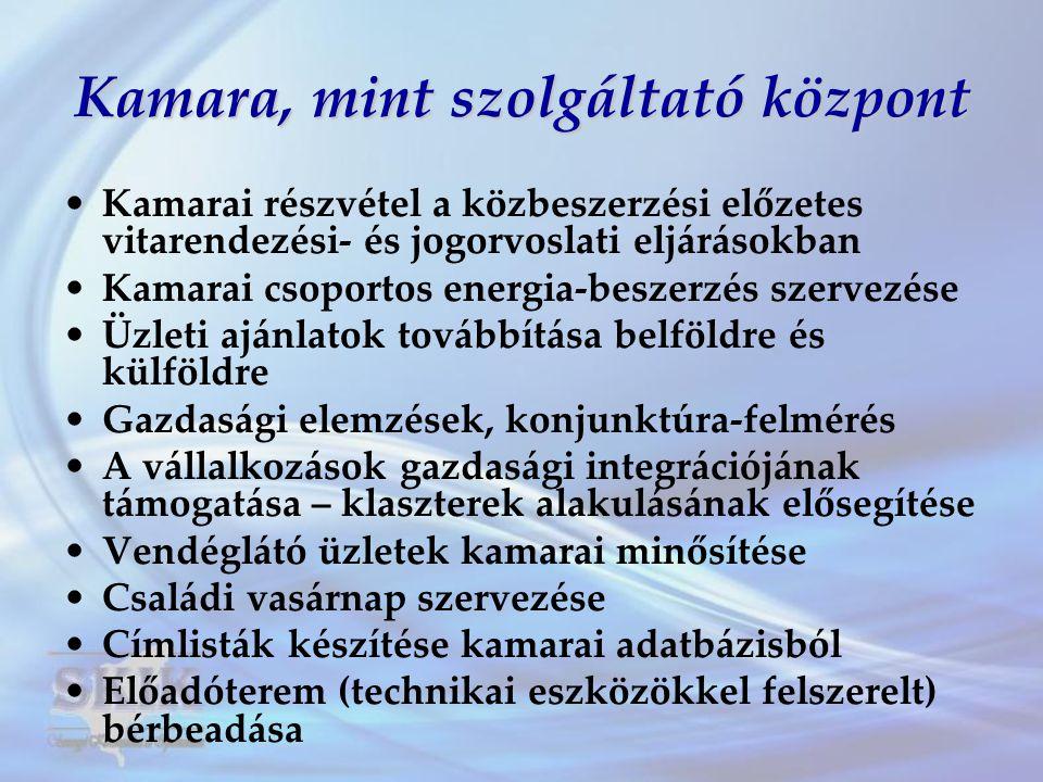 Kamara, mint szolgáltató központ •Kamarai részvétel a közbeszerzési előzetes vitarendezési- és jogorvoslati eljárásokban •Kamarai csoportos energia-be