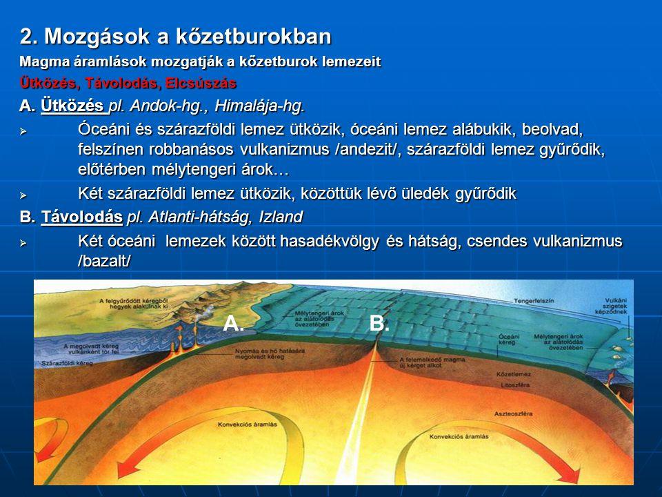 2. Mozgások a kőzetburokban Magma áramlások mozgatják a kőzetburok lemezeit Ütközés, Távolodás, Elcsúszás A. Ütközés pl. Andok-hg., Himalája-hg.  Óce