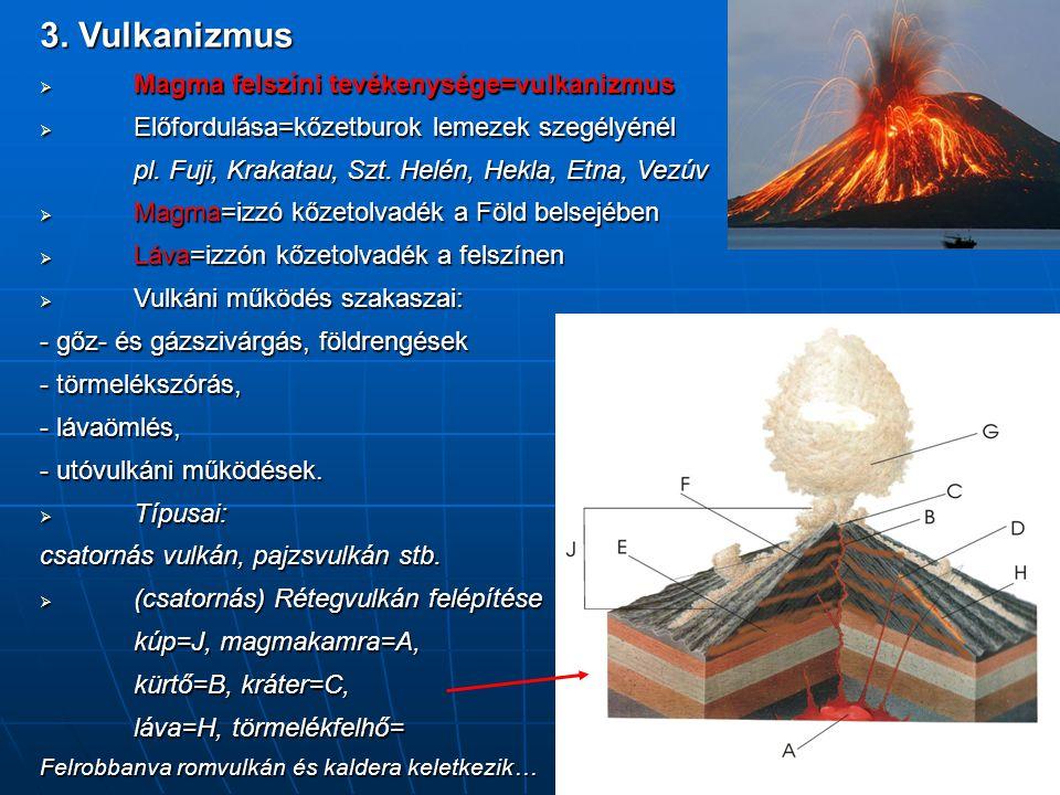 3. Vulkanizmus  Magma felszíni tevékenysége=vulkanizmus  Előfordulása=kőzetburok lemezek szegélyénél pl. Fuji, Krakatau, Szt. Helén, Hekla, Etna, Ve