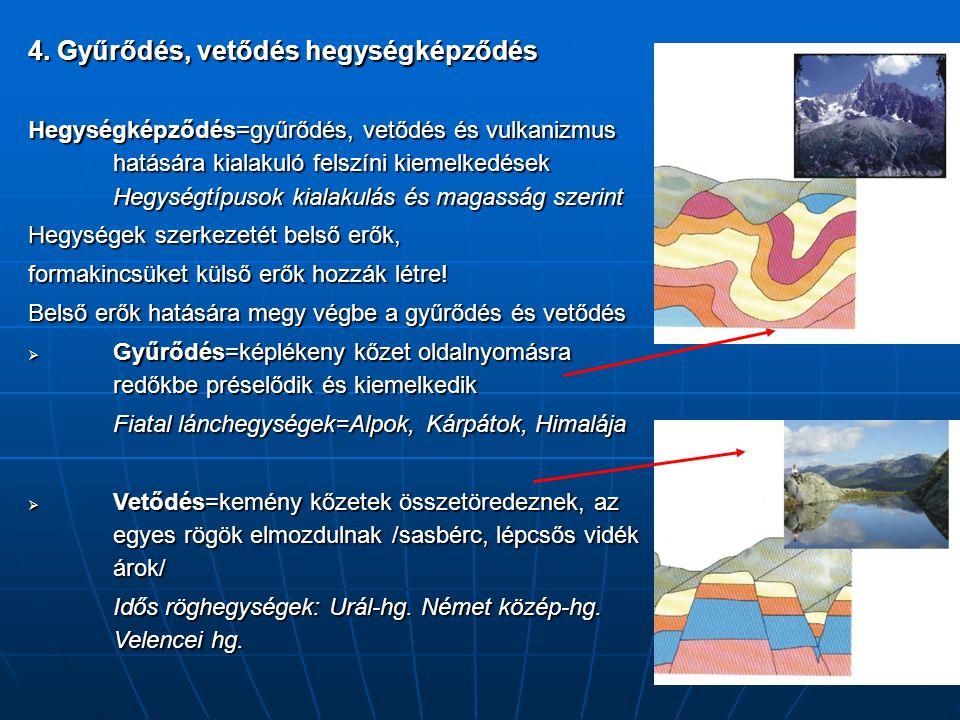 4. Gyűrődés, vetődés hegységképződés Hegységképződés=gyűrődés, vetődés és vulkanizmus hatására kialakuló felszíni kiemelkedések Hegységtípusok kialaku