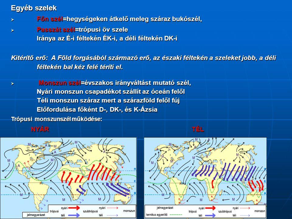 Egyéb szelek  Főn szél=hegységeken átkelő meleg száraz bukószél,  Passzát szél=trópusi öv szele Iránya az É-i féltekén ÉK-i, a déli féltekén DK-i Ki