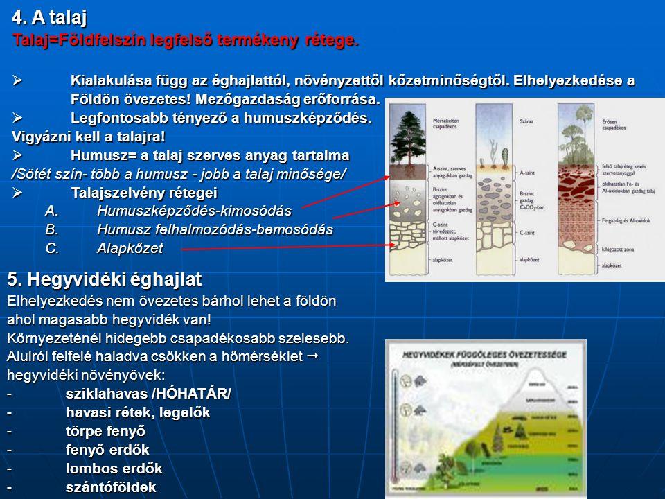 4. A talaj Talaj=Földfelszín legfelső termékeny rétege.  Kialakulása függ az éghajlattól, növényzettől kőzetminőségtől. Elhelyezkedése a Földön öveze