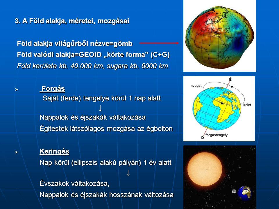 """3. A Föld alakja, méretei, mozgásai Föld alakja világűrből nézve=gömb Föld alakja világűrből nézve=gömb Föld valódi alakja=GEOID """"körte forma"""" (C+G) F"""
