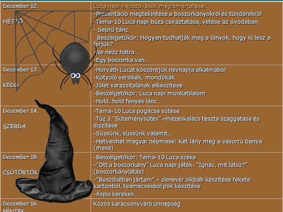 December 12. HÉTFŐ Luca napi népszokások megismertetése: -Prezentáció megtekintése a boszorkányokról és tündérekről -Téma-10 Luca napi búza csíráztatá