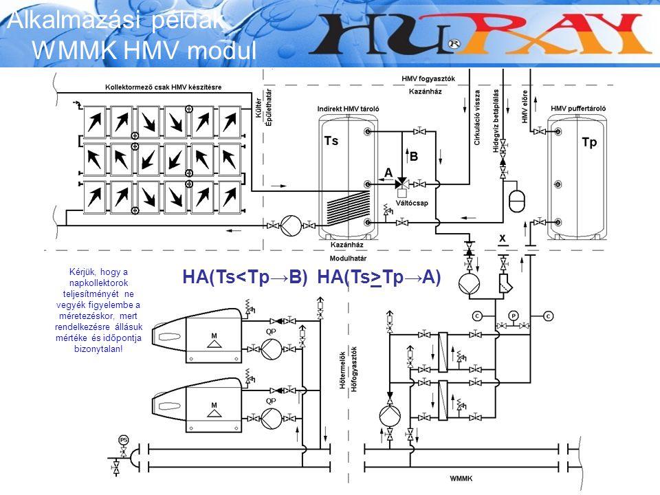 Alkalmazási példák WMMK HMV modul HA(Ts Tp→A) Kérjük, hogy a napkollektorok teljesítményét ne vegyék figyelembe a méretezéskor, mert rendelkezésre áll