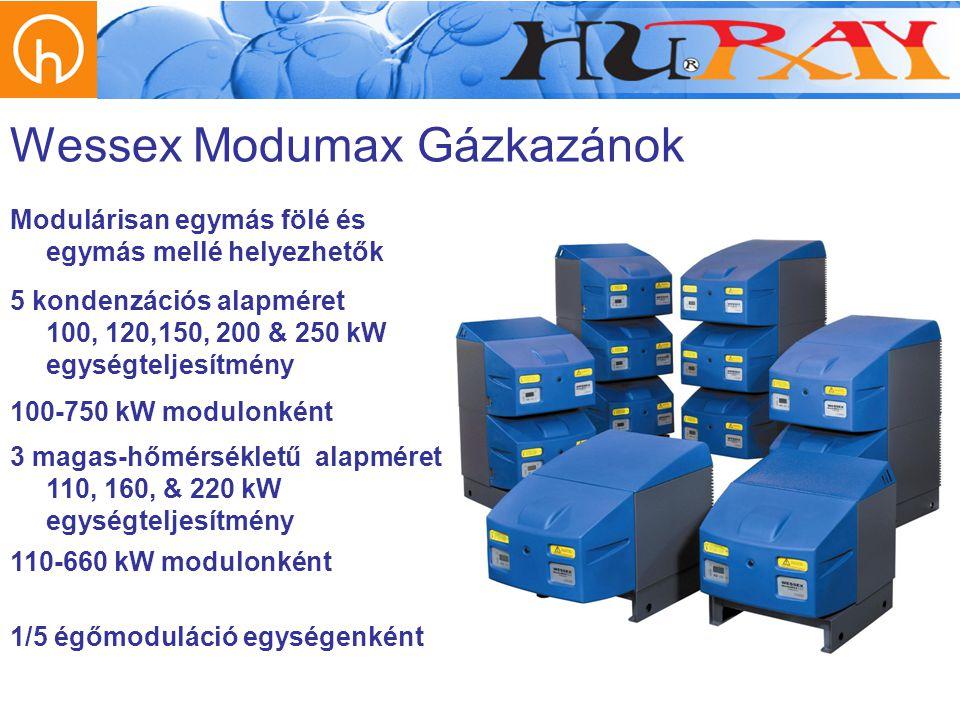 Wessex Modumax Gázkazánok 5 kondenzációs alapméret 100, 120,150, 200 & 250 kW egységteljesítmény Modulárisan egymás fölé és egymás mellé helyezhetők 1