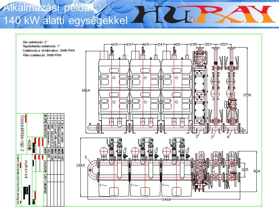 Alkalmazási példák : 140 kW alatti egységekkel