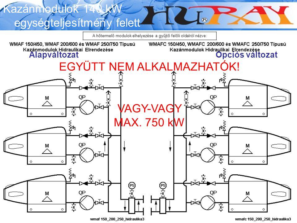 EGYÜTT NEM ALKALMAZHATÓK! VAGY-VAGY MAX. 750 kW AlapváltozatOpciós változat Kazánmodulok 140 kW egységteljesítmény felett A hőtermelő modulok elhelyez