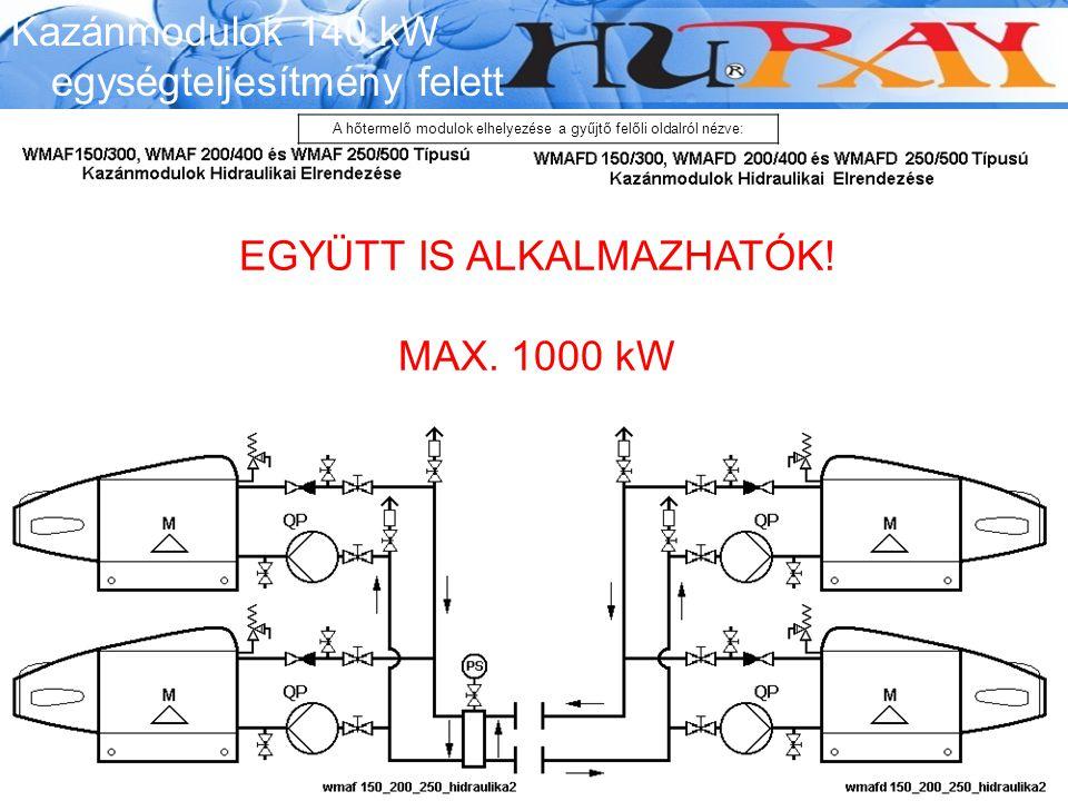 Wessex Modumax EGYÜTT IS ALKALMAZHATÓK! MAX. 1000 kW Kazánmodulok 140 kW egységteljesítmény felett A hőtermelő modulok elhelyezése a gyűjtő felőli old