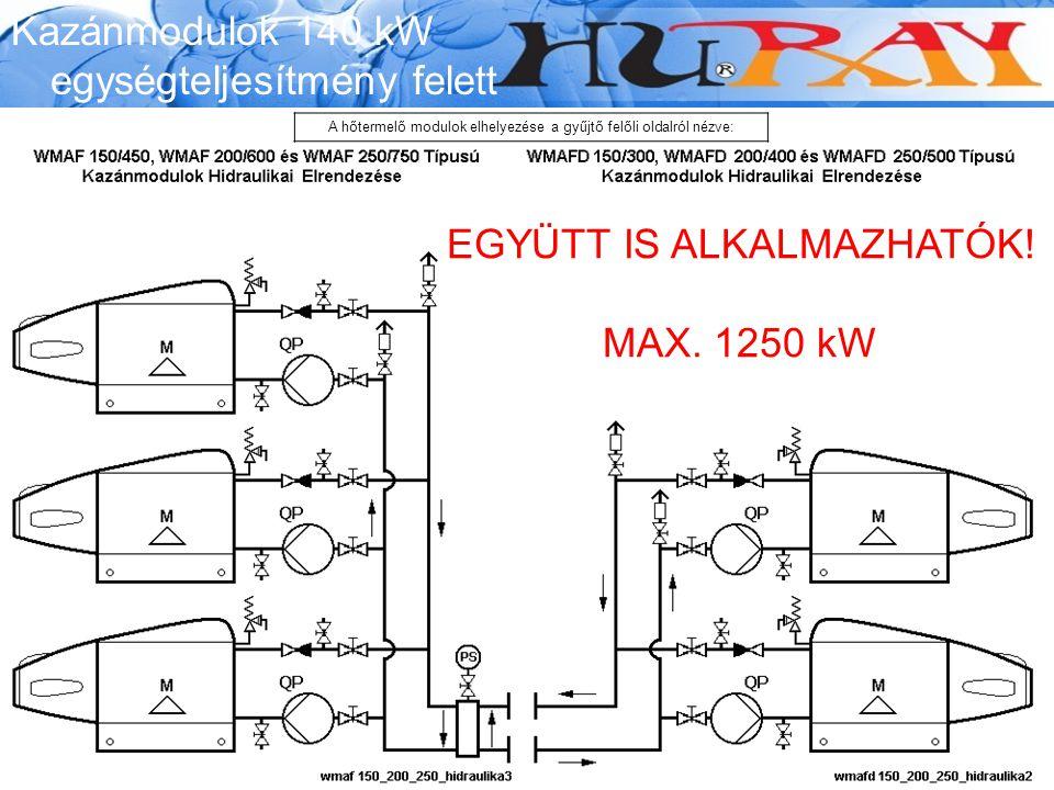Wessex Modumax EGYÜTT IS ALKALMAZHATÓK! MAX. 1250 kW Kazánmodulok 140 kW egységteljesítmény felett A hőtermelő modulok elhelyezése a gyűjtő felőli old