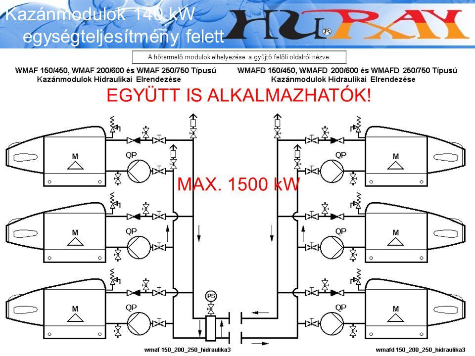 Wessex Modumax EGYÜTT IS ALKALMAZHATÓK! MAX. 1500 kW Kazánmodulok 140 kW egységteljesítmény felett A hőtermelő modulok elhelyezése a gyűjtő felőli old