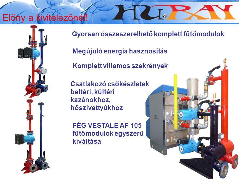 FÉG VESTALE AF 105 fűtőmodulok egyszerű kiváltása Előny a kivitelezőnél! Megújuló energia hasznosítás Gyorsan összeszerelhető komplett fűtőmodulok Kom