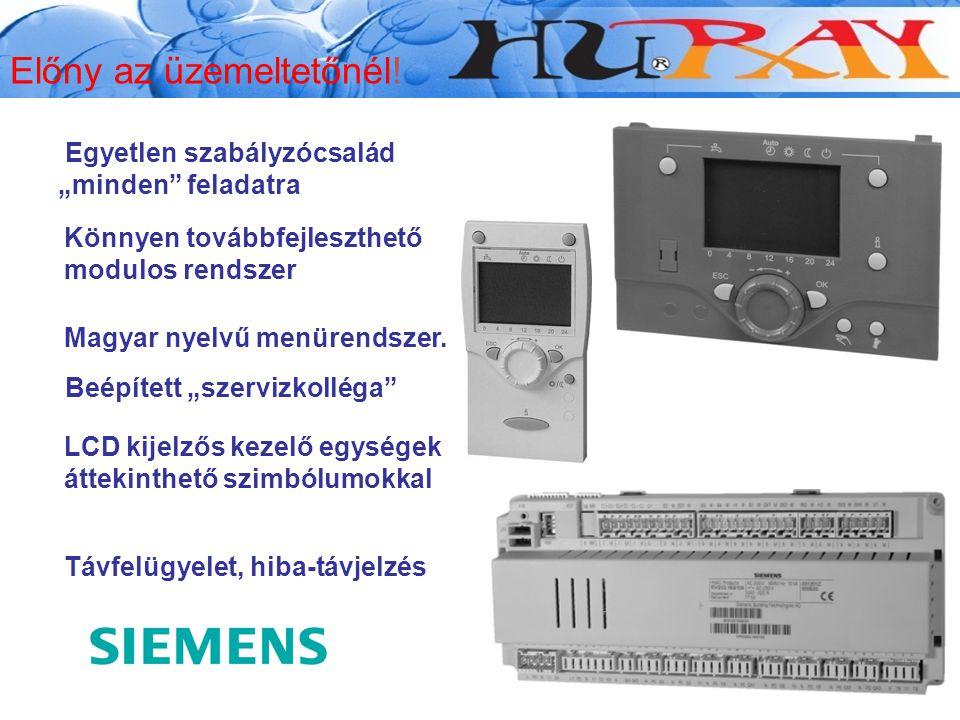 """Beépített """"szervizkolléga"""" LCD kijelzős kezelő egységek áttekinthető szimbólumokkal Távfelügyelet, hiba-távjelzés Magyar nyelvű menürendszer. Egyetlen"""