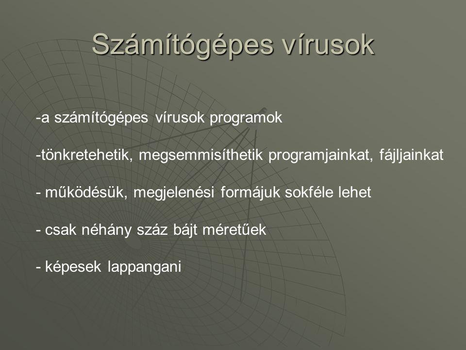 Számítógépes vírusok -a számítógépes vírusok programok -tönkretehetik, megsemmisíthetik programjainkat, fájljainkat - működésük, megjelenési formájuk