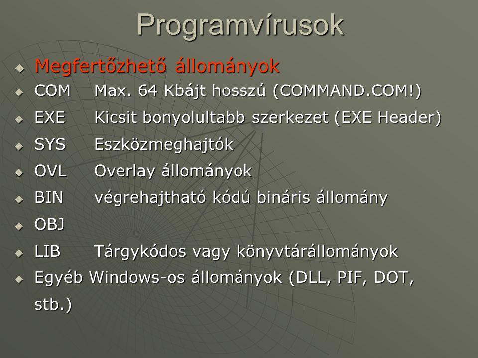 Programvírusok  Megfertőzhető állományok  COMMax. 64 Kbájt hosszú (COMMAND.COM!)  EXEKicsit bonyolultabb szerkezet (EXE Header)  SYSEszközmeghajtó