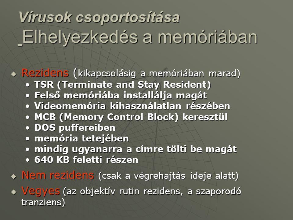  Rezidens ( kikapcsolásig a memóriában marad) •TSR (Terminate and Stay Resident) •Felső memóriába installálja magát •Videomemória kihasználatlan rész