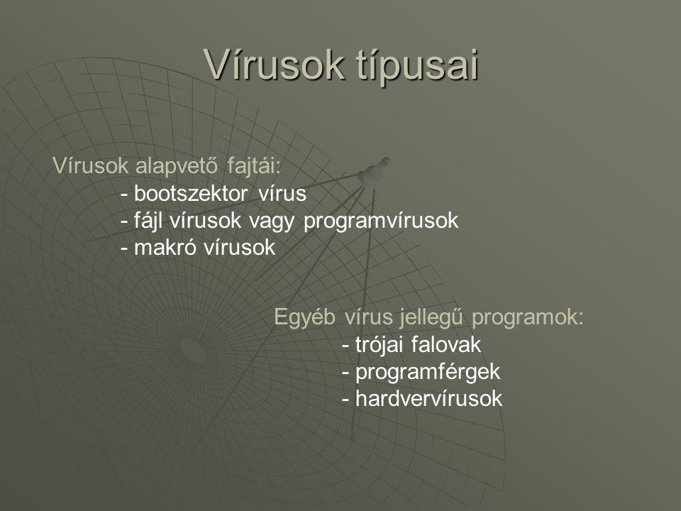 Vírusok csoportosítása Generációk szerint  Első generációs vírusok  Egyszerű terjedésű, könnyen visszafejthető vírusok  Lopakodó (stealth) vírusok  Mindent az eredeti fertőzésmentes állapotban mutat  Polimorf, mutációs vírusok  Terjedés közben átírja magát, több változat készül  FAT és CEB (companion) vírusok  FAT: Egy példányban írja fel magát az utolsó clusterbe  CEB: DOS programindítási rendszerét használja ki