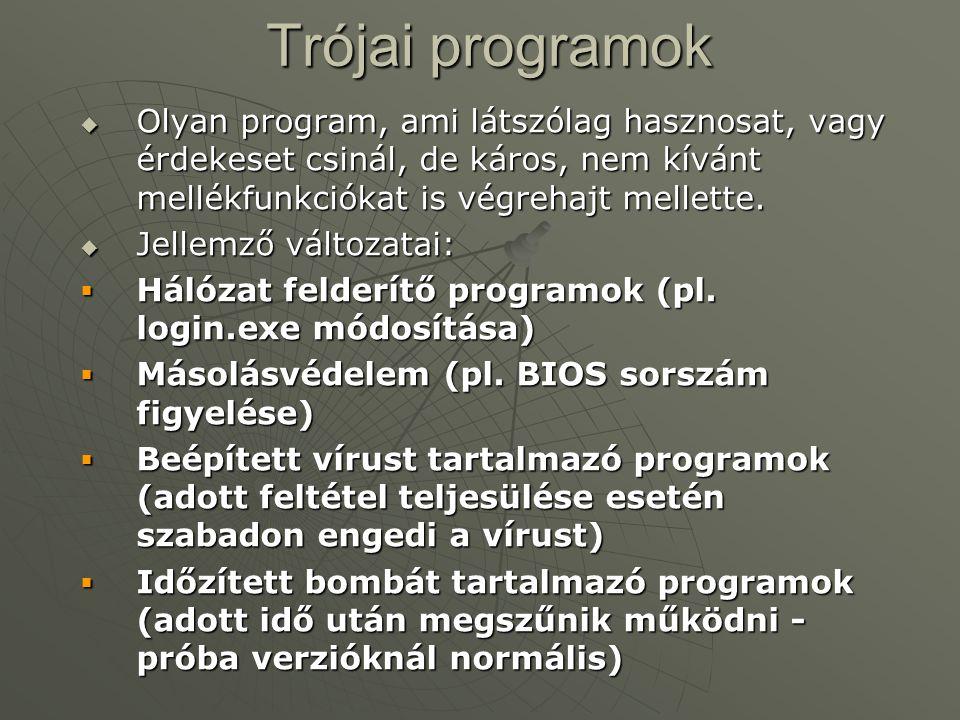 Programférgek  A UNIX rendszerek biztonsági réseit kihasználó programok.