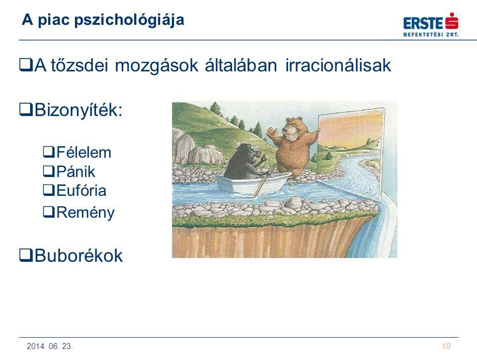 2014. 06. 23. 10 A piac pszichológiája  A tőzsdei mozgások általában irracionálisak  Bizonyíték:  Félelem  Pánik  Eufória  Remény  Buborékok