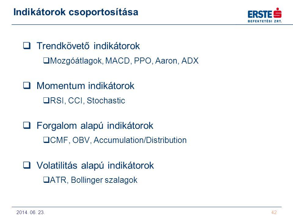 2014. 06. 23. 42 Indikátorok csoportosítása  Trendkövető indikátorok  Mozgóátlagok, MACD, PPO, Aaron, ADX  Momentum indikátorok  RSI, CCI, Stochas