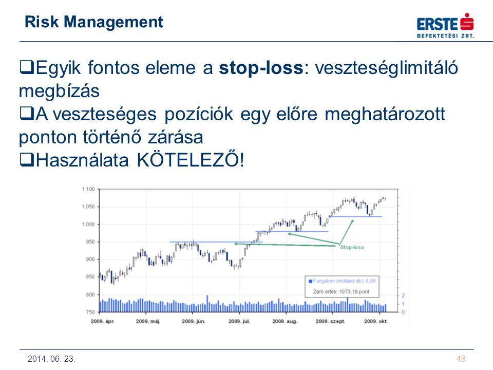 2014. 06. 23. 48 Risk Management  Egyik fontos eleme a stop-loss: veszteséglimitáló megbízás  A veszteséges pozíciók egy előre meghatározott ponton