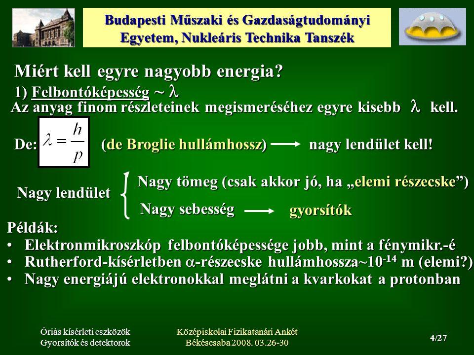 Budapesti Műszaki és Gazdaságtudományi Egyetem, Nukleáris Technika Tanszék 25/27 Óriás kísérleti eszközök Gyorsítók és detektorok Középiskolai Fizikatanári Ankét Békéscsaba 2008.