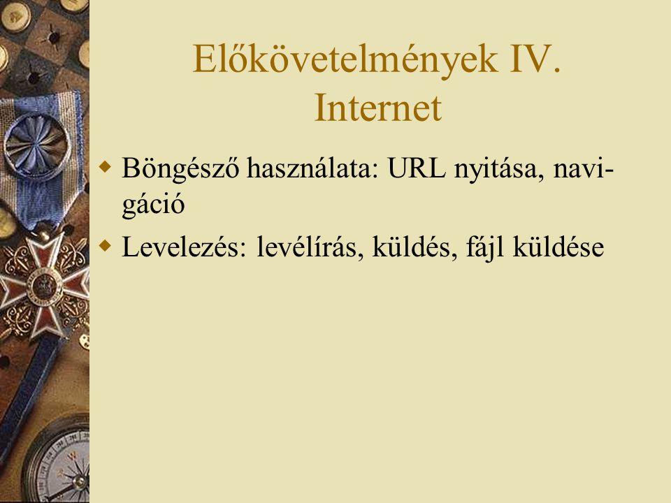 Előkövetelmények IV.