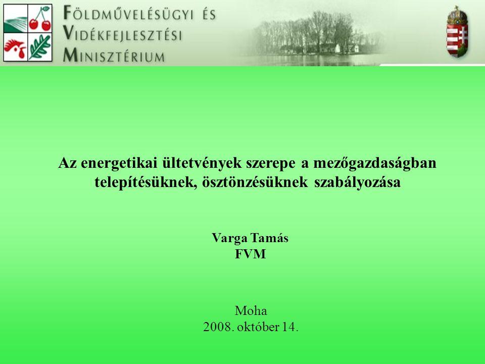 Az energetikai ültetvények szerepe a mezőgazdaságban telepítésüknek, ösztönzésüknek szabályozása Moha 2008. október 14. Varga Tamás FVM
