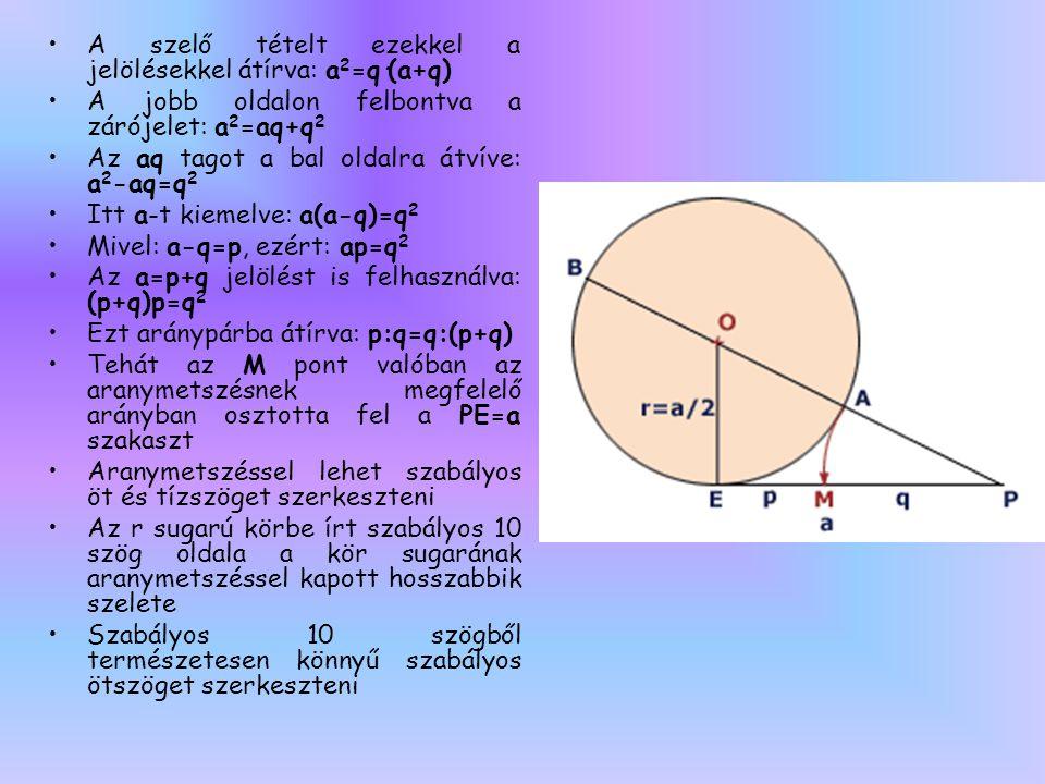 •A szelő tételt ezekkel a jelölésekkel átírva: a 2 =q·(a+q) •A jobb oldalon felbontva a zárójelet: a 2 =aq+q 2 •Az aq tagot a bal oldalra átvíve: a 2