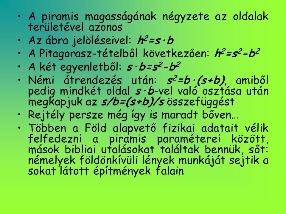 •A piramis magasságának négyzete az oldalak területével azonos •Az ábra jelöléseivel: h 2 =s·b •A Pitagorasz-tételből következően: h 2 =s 2 -b 2 •A ké