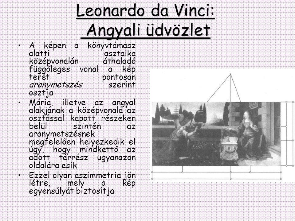 Leonardo da Vinci: Angyali üdvözlet •A képen a könyvtámasz alatti asztalka középvonalán áthaladó függőleges vonal a kép terét pontosan aranymetszés sz