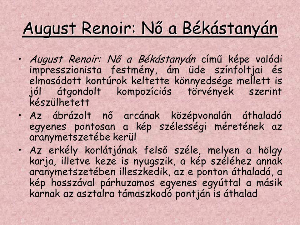 August Renoir: Nő a Békástanyán •August Renoir: Nő a Békástanyán című képe valódi impresszionista festmény, ám üde színfoltjai és elmosódott kontúrok