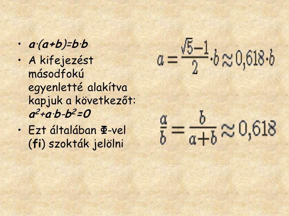 •a·(a+b)=b·b •A kifejezést másodfokú egyenletté alakítva kapjuk a következőt: a 2 +a·b-b 2 =0 •Ezt általában Φ-vel (fi) szokták jelölni