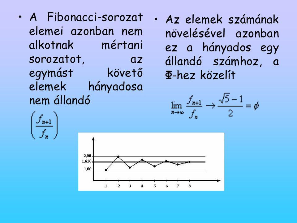 •A Fibonacci-sorozat elemei azonban nem alkotnak mértani sorozatot, az egymást követő elemek hányadosa nem állandó •A•Az elemek számának növelésével a