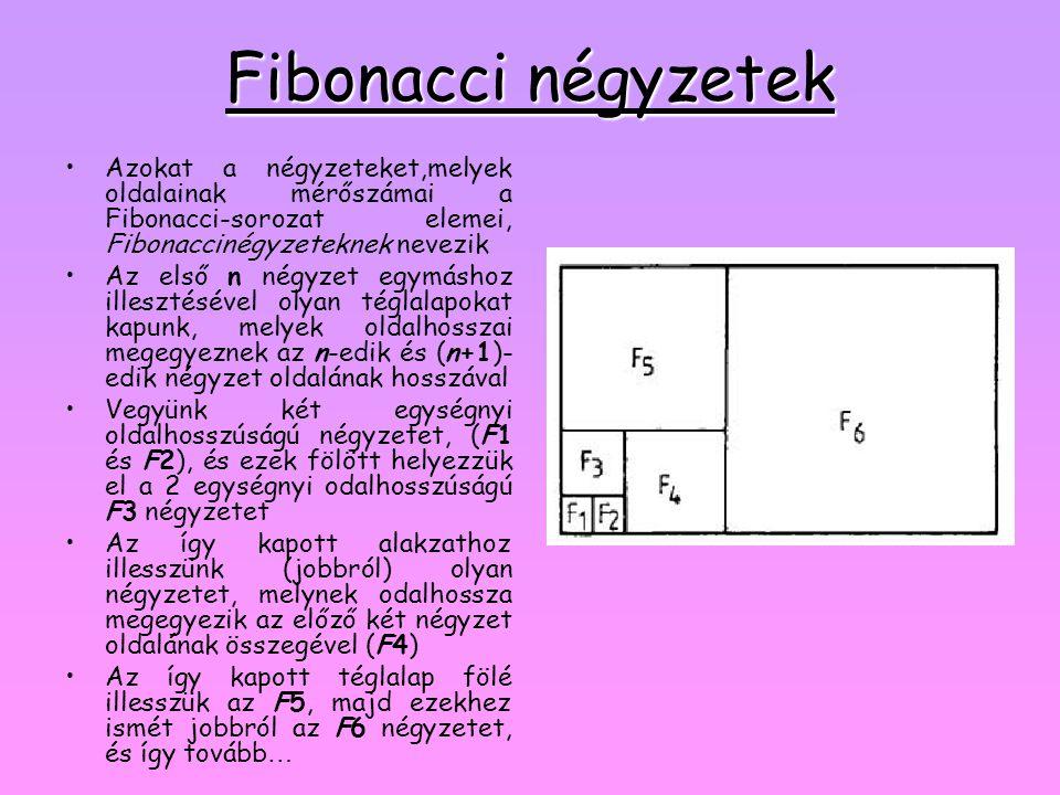 Fibonacci négyzetek •Azokat a négyzeteket,melyek oldalainak mérőszámai a Fibonacci-sorozat elemei, Fibonaccinégyzeteknek nevezik •Az első n négyzet eg