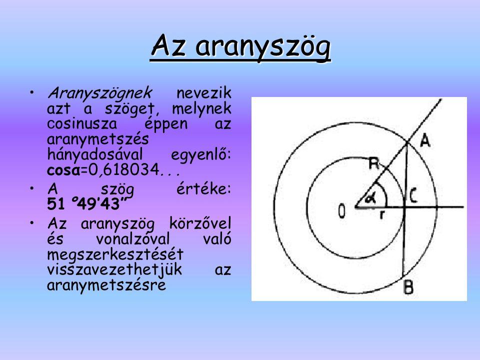 Az aranyszög •Aranyszögnek nevezik azt a szöget, melynek c osinusza éppen az aranymetszés hányadosával egyenlő: cosα=0,618034... •A szög értéke: 51°49