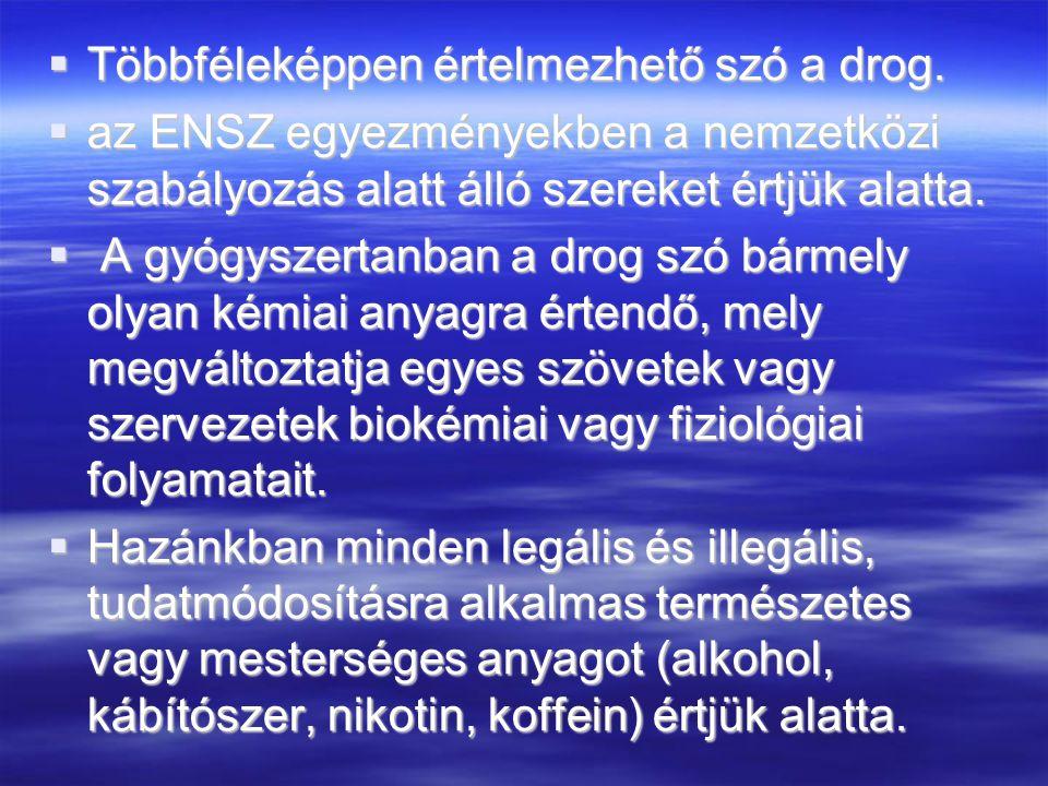  Többféleképpen értelmezhető szó a drog.  az ENSZ egyezményekben a nemzetközi szabályozás alatt álló szereket értjük alatta.  A gyógyszertanban a d