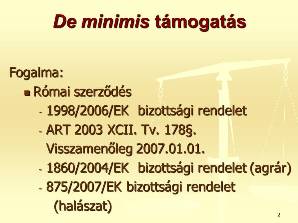 3 De minimis támogatásokat (1998/2006/EK) kik nem vehetik igénybe I.