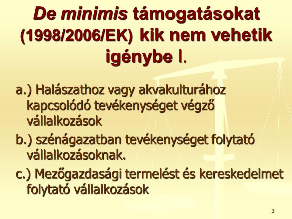 24 De minimis támogatások fajtái II.